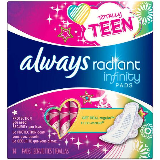 Always Radiant Infinity Totally Teen Pads - Regular - 14's