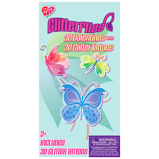 Glitterflies Valentines with Temporary Tattoos - 30s - 4162195