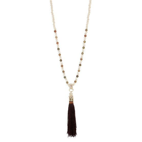 Haskell Beaded Tassel Necklace - Brown/Gold