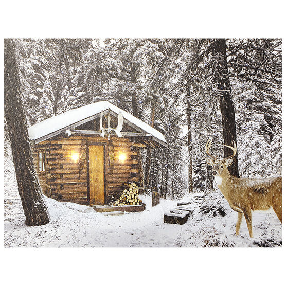 Christmas Forever LED Canvas - Cabin - 12 x 16in