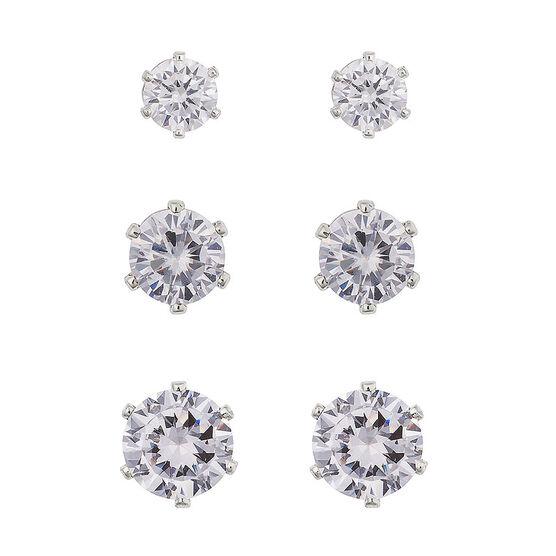 Anne Klein Cubic Zirconia Trio Stud Earrings - Silver