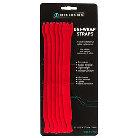 Certified Data 8-inch Uni-Wrap Straps - 6's - Red