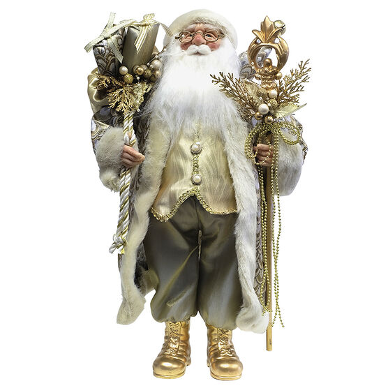 Christmas Santa Standing with Staff - 18in