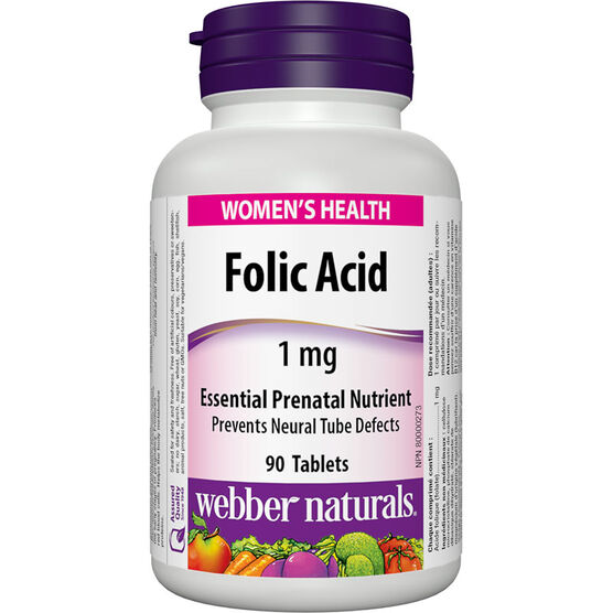 Webber Naturals Folic Acid 1000 mcg - 90's