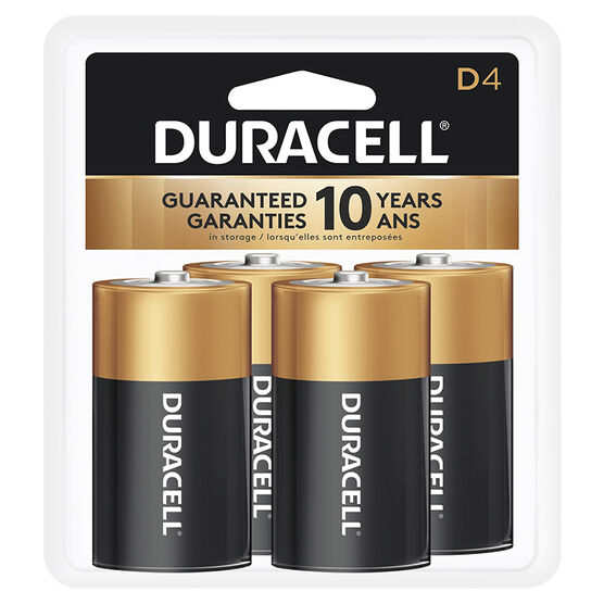 Duracell CopperTop D Alkaline Batteries - 4 pack