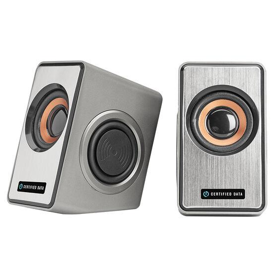 Certified Data Premium USB Powered Speaker - Silver - HXM-L-868