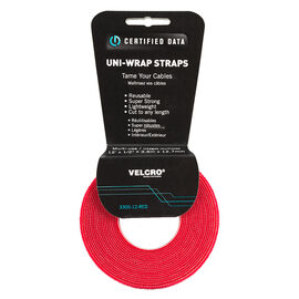 Certified Data 1/2-inch Uni-Wrap Straps - 12 feet - Red