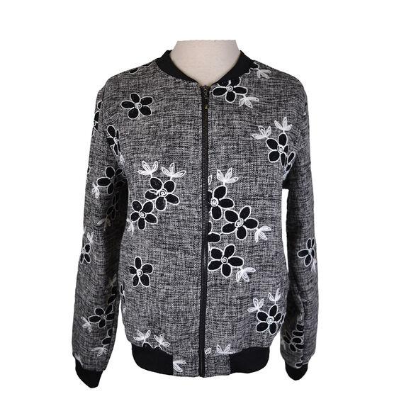 Lava Embroidered Bomber Jacket - Black