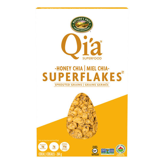 Nature's Path Qi'a Super Flakes Cereal - Honey Chia - 284g