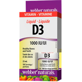 Webber Naturals Liquid Vitamin D3 1000IU - 25ml