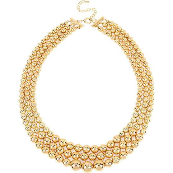 Haskell Three Row Ball Necklace - Gold