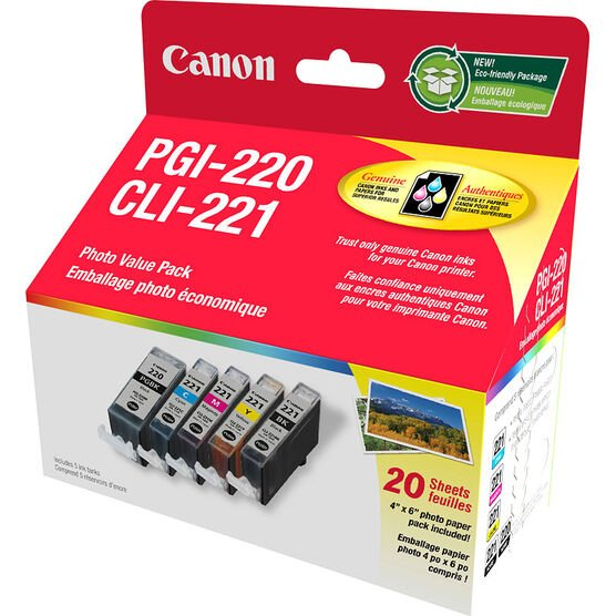 Canon PGI-220 Black with CLI-221 4 Colours Ink Combo - 2945B007