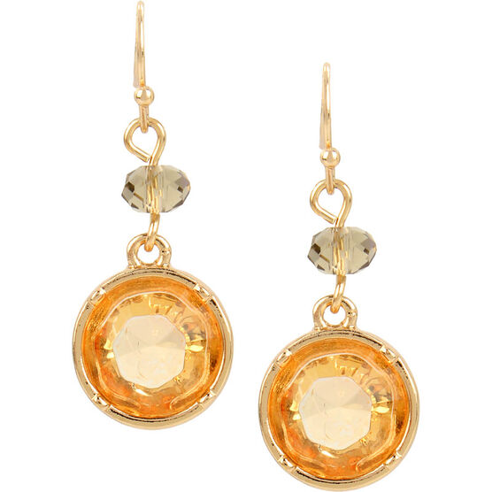 Haskell Crystal Earrings - Topaz/Gold