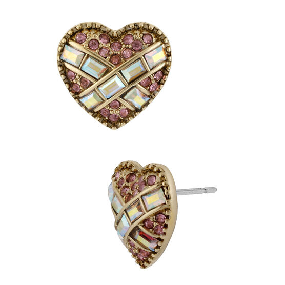 Betsey Johnson Heart Stud Earrings - Pink
