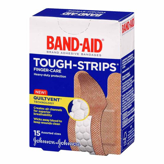 Johnson & Johnson Band-Aid Finger-Care Tough-Strips - Assorted - 15's