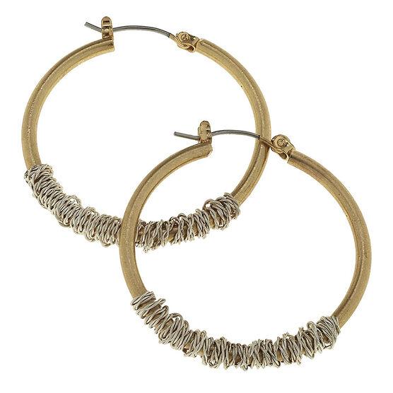 Canvas Medium Wired Hoop Earrings - Gold/Silver
