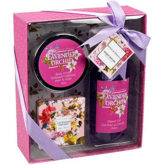 Bunch of Flowers Box Gift Set Lavender Orchid - 3 piece