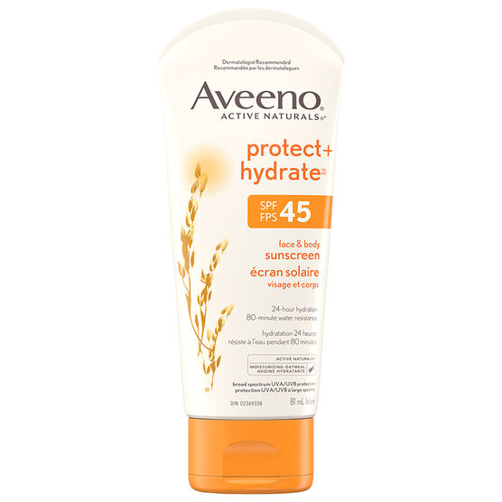 Aveeno Protect + Hydrate Sunscreen for Face & Body - SPF 45 - 81 ml