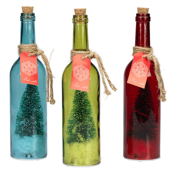 Danson LED Glass Bottle with Tree - 11.75in - X96887 - Assorted