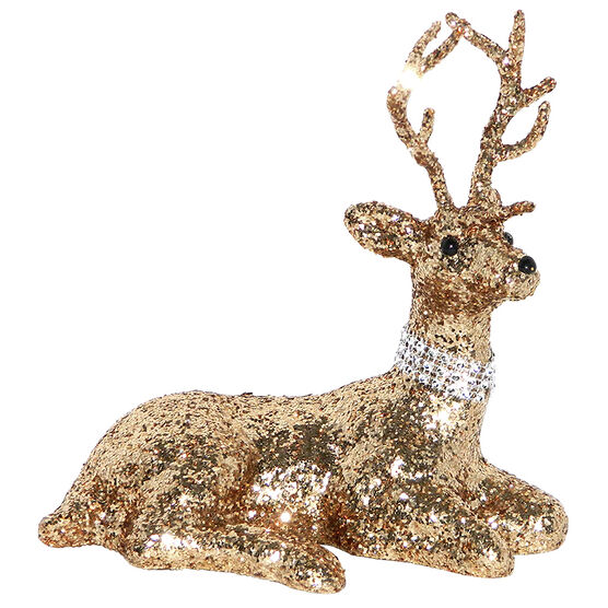Christmas Deer with Glitter Sitting - Rose Gold - 8in