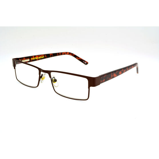 Foster Grant Chip Reading Glasses with Case - Brown/Tortoiseshell - 1.25