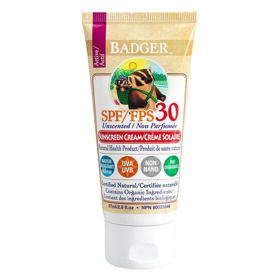 Badger Sunscreen Unscented SPF30 - 87ml