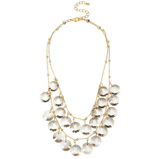 Haskell Two Row Necklace - Grey/Gold