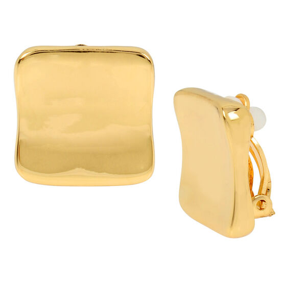 Robert Lee Morris Shiny Square Clip Earrings - Gold