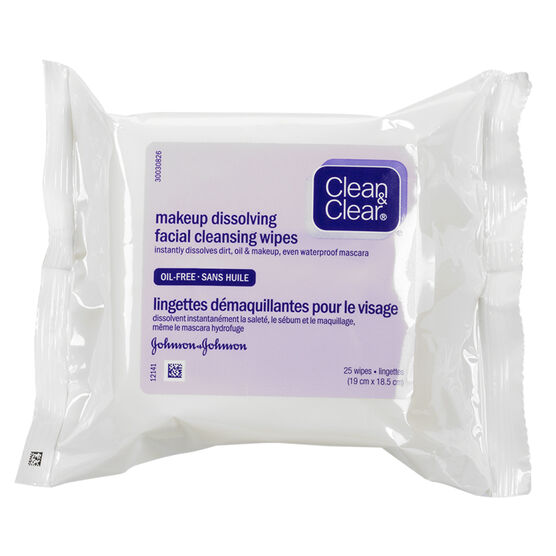 Clean & Clear Makeup Dissolving Facial Cleansing Wipes - 25's