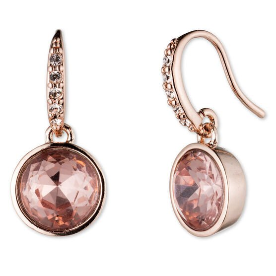 Lonna Lilly Hoop Drop Earrings - Rose Gold