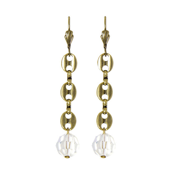 Anne Koplik 3 Flat Oval Links Linear Earrings