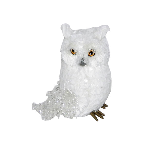 Polar Ice Owl Sitting with Glitter Tail - White - 6in