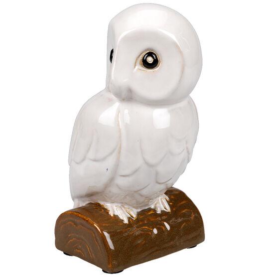 London Drugs Indoor Earthenware Owl - Ivory - 14 x 11 x 22.5cm