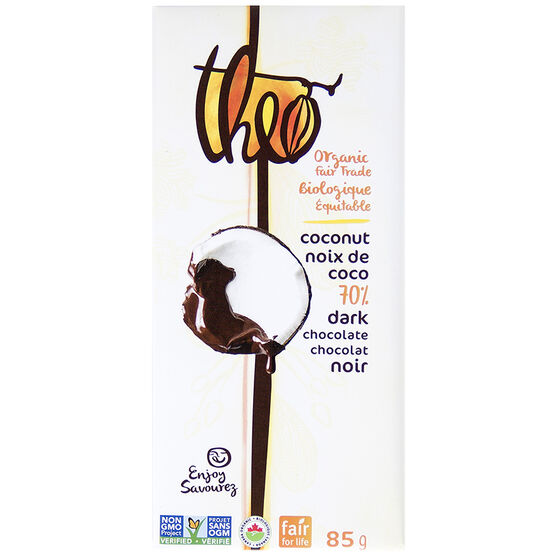 Theo Organic Chocolate Bar - Coconut 70% Dark - 85g
