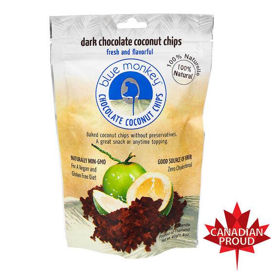 Blue Monkey Coconut Chips - Dark Chocolate - 40g