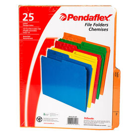 Pendaflex File Folders - Assorted - Letter - 25 Pack