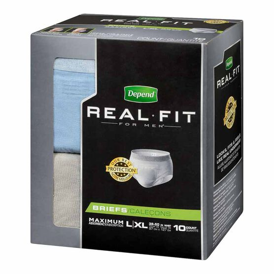 Depend Real Fit Briefs For Men - Maximum Absorbency - Large/X-Large - 10's