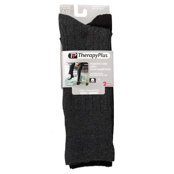 TherapyPlus Men's Diabetic Dress Crew Socks - Black - Shoe Size 7-12 - 2 pairs