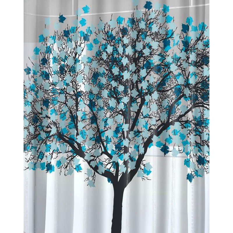 Splash Foliage Shower Curtain   Blue   70 X 72inch