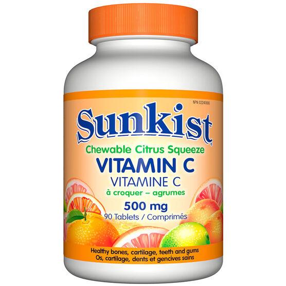 Sunkist Vitamin C 500mg Chewable - Citrus - 90's