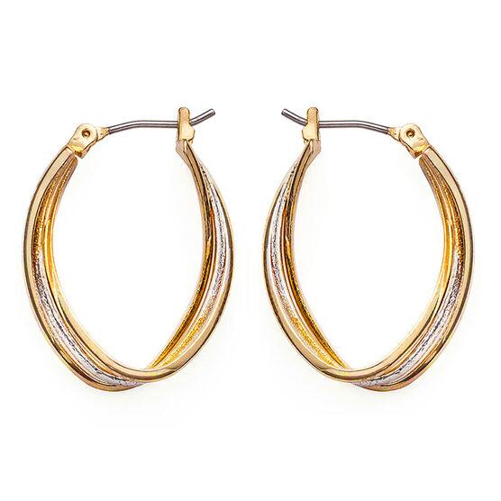 Anne Klein 2 Tone Oval Hoop Earrings - Gold/Silver