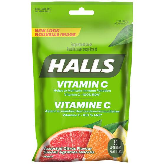 Halls Vitamin C Supplement Drops - Assorted Citrus - 30's