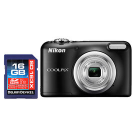 Nikon Coolpix A10 with Delkin 16GB SDHC 163X Memory Card - PKG #38900
