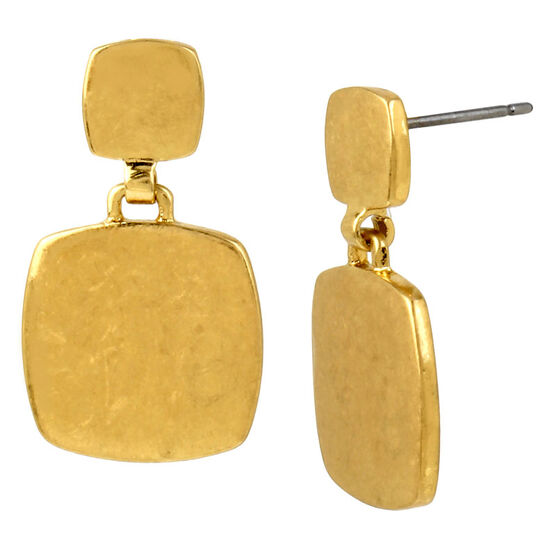 Kenneth Cole Double Square Drop Earrings - Gold
