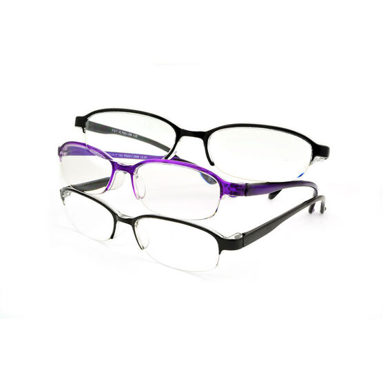 Foster Grant Terri Reading Glasses - Black/Purple - 3 pairs - 2.50
