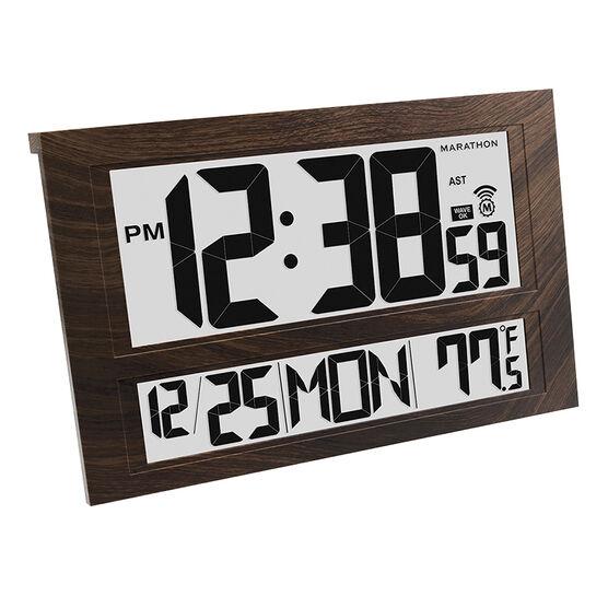 Marathon Jumbo Atomic Clock - Wood - CL030025WD