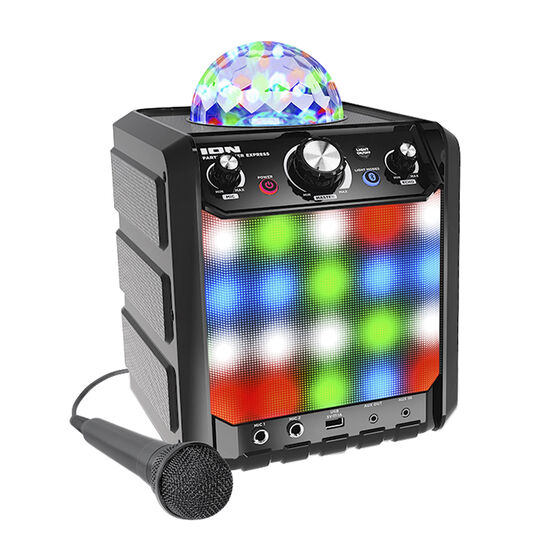 ION Party Rocker Express Wireless Bluetooth Speaker with Light Show and Mic - Black - IPA78BK