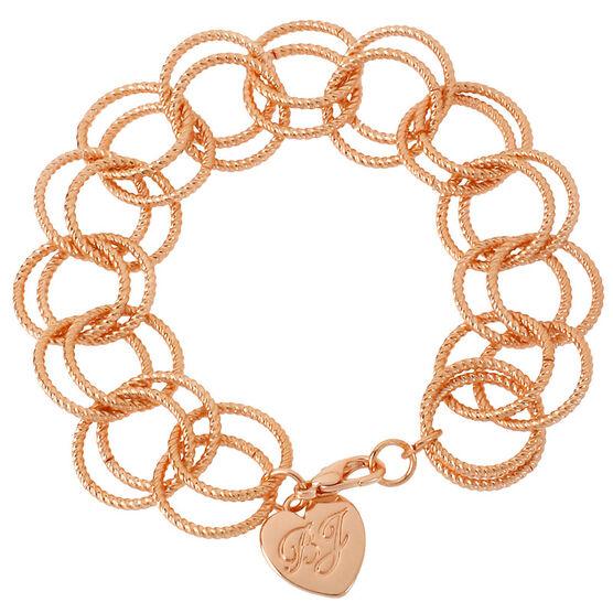 Betsey Johnson Circle Link Bracelet - Rose Gold Tone