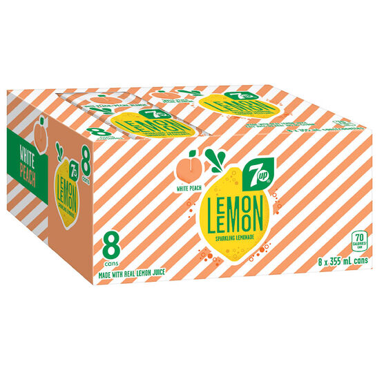 Lemon Lemon Sparkling Lemonade - White Peach - 8x355ml