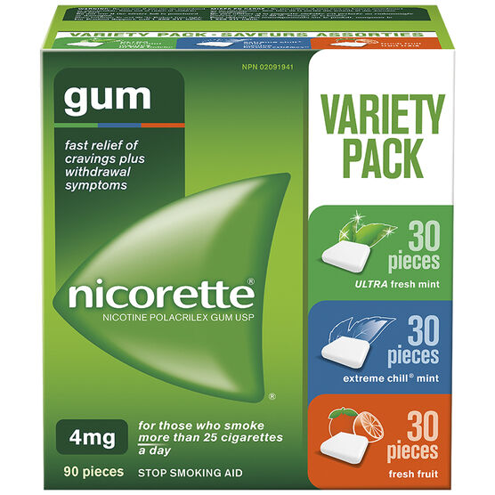 Nicorette Gum - Variety Pack with Fresh Fruit - 4mg - 90's